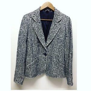 Ellen Tracy | Blue & White Tweed Button Blazer EUC